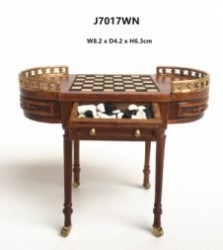 Шахматный стол Chess Table with inlay chess board-walnut, миниатюра 1:12