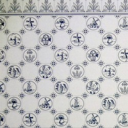 Обои Tile, Blue On White, масштаб 1:12