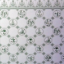 Обои Tile, Green On White, миниатюра 1:12