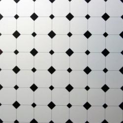 Напольная плитка, черно-белая, миниатюра 1:12