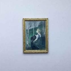 Постер Девочка и птичка, кукольная миниатюра