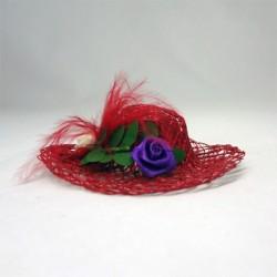 Дамская шляпка красная, миниатюра 1:12
