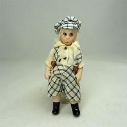 Кукла Мальчик в шортиках и кепке, миниатюра