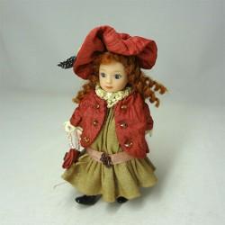 Кукла Девочка в курточке и шляпке, миниатюра
